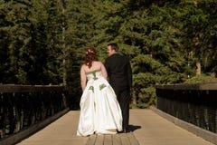 Noiva e noivo que andam através da ponte Foto de Stock