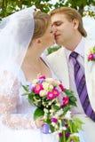 Noiva e noivo que beijam sob a árvore Foto de Stock Royalty Free
