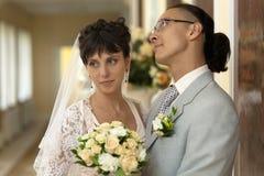 A noiva e o noivo Fotos de Stock Royalty Free