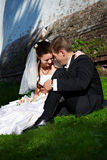 A noiva e o noivo bonitos sentam-se na grama Imagens de Stock Royalty Free