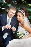 A noiva e o noivo felizes no casamento andam no parque fotos de stock