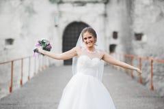Noiva elegante bonita com o vestido de casamento perfeito e ramalhete que levanta perto do castelo velho foto de stock royalty free