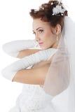 Noiva em um vestido branco Foto de Stock