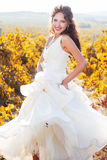 Noiva em um vinhedo, outono Imagens de Stock Royalty Free