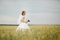 Noiva em uma caminhada Imagens de Stock Royalty Free
