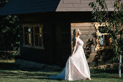 Noiva em uma caminhada Fotografia de Stock