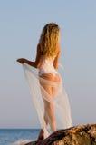 Noiva em uma rocha Imagens de Stock Royalty Free