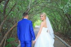 A noiva encontra o noivo Fotografia de Stock Royalty Free