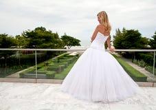 A noiva está permanecendo em um pavillion da parte superior do telhado Imagens de Stock Royalty Free