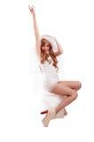Noiva extravagante na meia preta Imagem de Stock