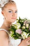 Noiva feliz com flores Imagens de Stock