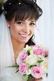 Noiva feliz com ramalhete weding fotos de stock royalty free