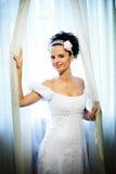 Noiva feliz no vestido de casamento Imagem de Stock