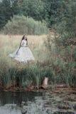 Noiva inoperante assustador na cena de Dia das Bruxas da floresta imagens de stock royalty free
