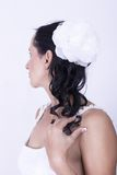 Noiva lindo, ondas na flor branca do cabelo Fotografia de Stock Royalty Free