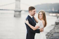 Noiva loura feliz à moda elegante e noivo lindo no fundo de um rio bonito fotografia de stock royalty free
