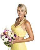 Noiva madura no amarelo Fotografia de Stock