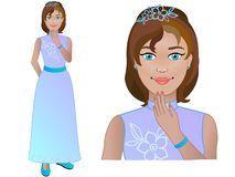Noiva, noiva Menina no vestido de casamento Mulher em nivelar o vestuário Vestido branco com flores, diadema ilustração royalty free