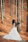 Noiva moreno lindo no vestido elegante que guarda o ramalhete que levanta perto da floresta e do lago fotografia de stock
