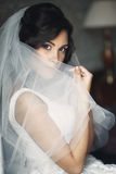 Noiva moreno relaxado 'sexy' que esconde atrás do véu perto da janela branca Imagens de Stock