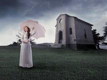 Noiva na chuva Fotos de Stock Royalty Free