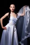 Noiva no branco com véu nupcial Fotografia de Stock Royalty Free