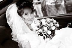 Noiva no carro Imagem de Stock