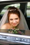 Noiva no carro Imagens de Stock Royalty Free