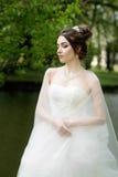 A noiva no véu e o branco vestem-se, casamento, mulher atrativa fotografia de stock