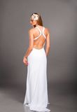 Noiva no vestido de casamento Fotos de Stock Royalty Free