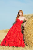 Noiva no vestido de casamento vermelho em um campo Imagem de Stock