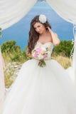 Noiva nova em um arco do casamento Imagem de Stock Royalty Free