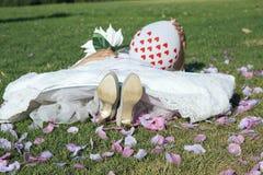 Noiva nova que encontra-se na grama Imagens de Stock