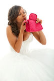 Noiva nova que pinta sua cara fotografia de stock royalty free