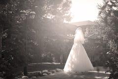 Noiva que faz a pirueta no parque Foto de Stock Royalty Free