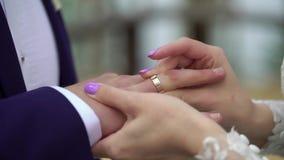 Noiva que põe um anel sobre o dedo do ` s do noivo durante a cerimônia de casamento vídeos de arquivo