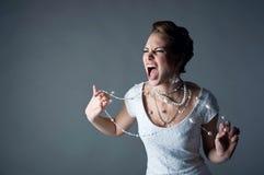 Noiva shouting irritada Imagens de Stock Royalty Free