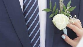 A noiva une uma rosa branca ao terno do ` s do noivo vídeos de arquivo