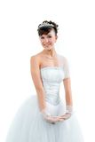 Noiva vestida no vestido de casamento branco da elegância Imagem de Stock Royalty Free