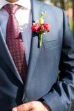 Noivo à moda no casaco azul, na camisa branca e no laço vermelho com boutonniere fotografia de stock