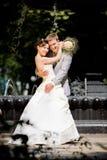 Noivo e a alegria da noiva Fotografia de Stock
