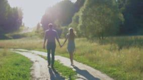 Noivo e amiga, par loving andando e beijando no por do sol em mestres rurais na natureza vídeos de arquivo