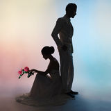 Noivo e noiva da silhueta dos pares do casamento no fundo das cores Imagens de Stock Royalty Free
