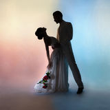 Noivo e noiva da silhueta dos pares do casamento no fundo das cores Fotos de Stock