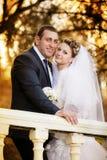 Noivo e a noiva em seu dia do casamento Fotos de Stock Royalty Free