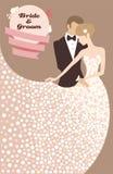 Noivo e noiva no vestido leve Imagens de Stock Royalty Free