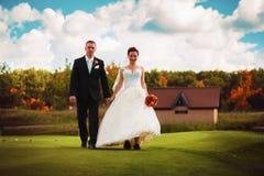 Noivo e noiva que andam no campo verde Imagem de Stock Royalty Free