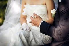 Noivo e noiva que guardam cada outro mãos Fotografia de Stock
