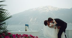 Noivo e noiva românticos e bonitos dos pares no lugar de surpresa ao lado da montanha e do lago do fundo do campo de flores eles vídeos de arquivo