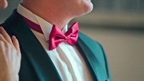 Noivo em um traje formal do casamento com borboleta filme